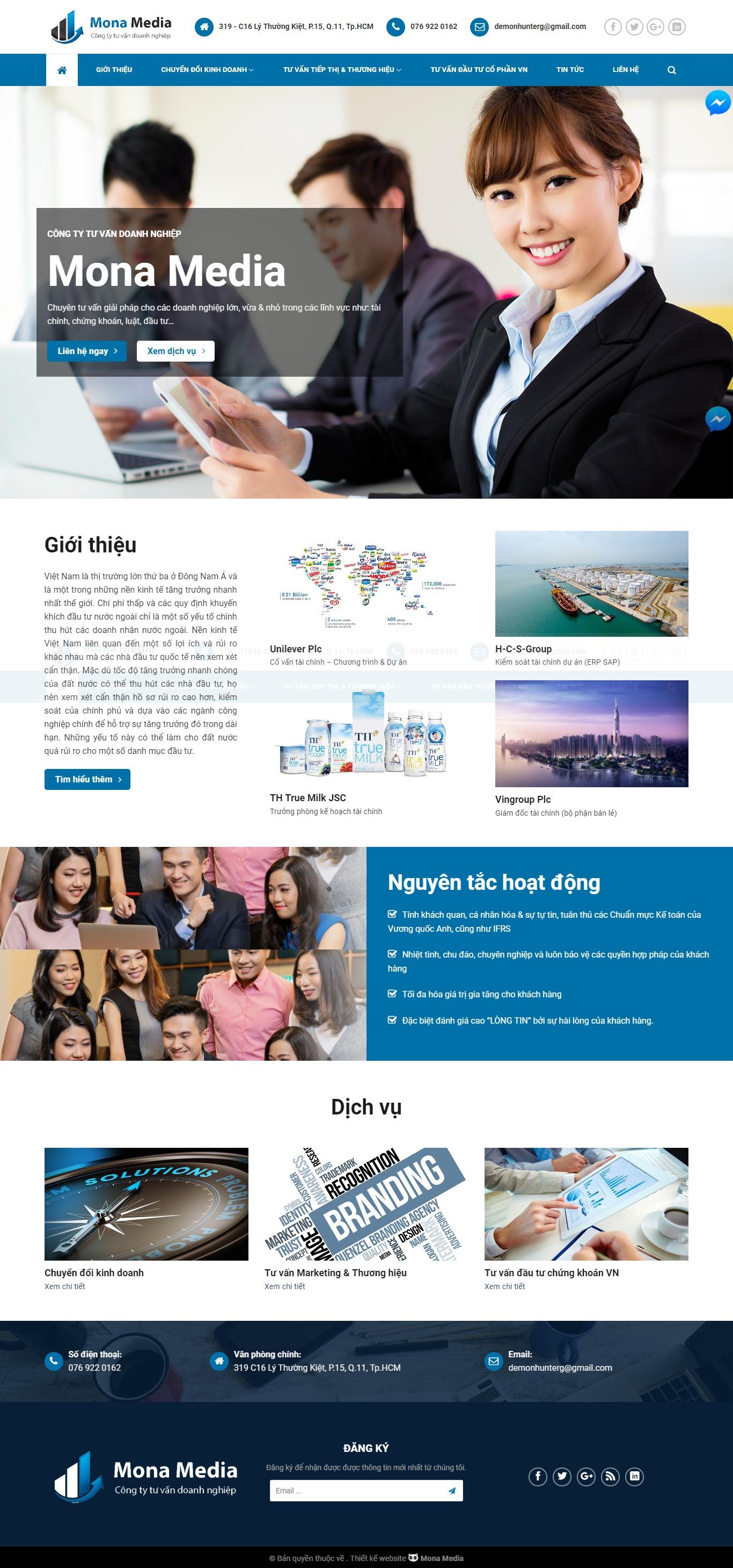 Mẫu website giới thiệu – tư vấn doanh nghiệp giống YTTran