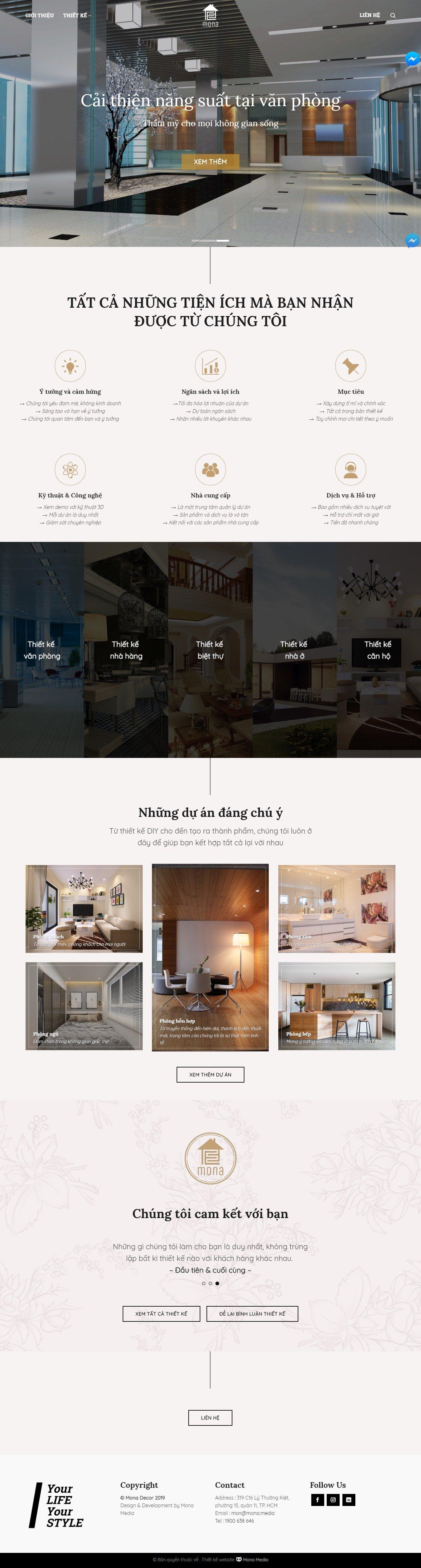 Mẫu website công ty thiết kế nội thất giao diện tương tự An Gia