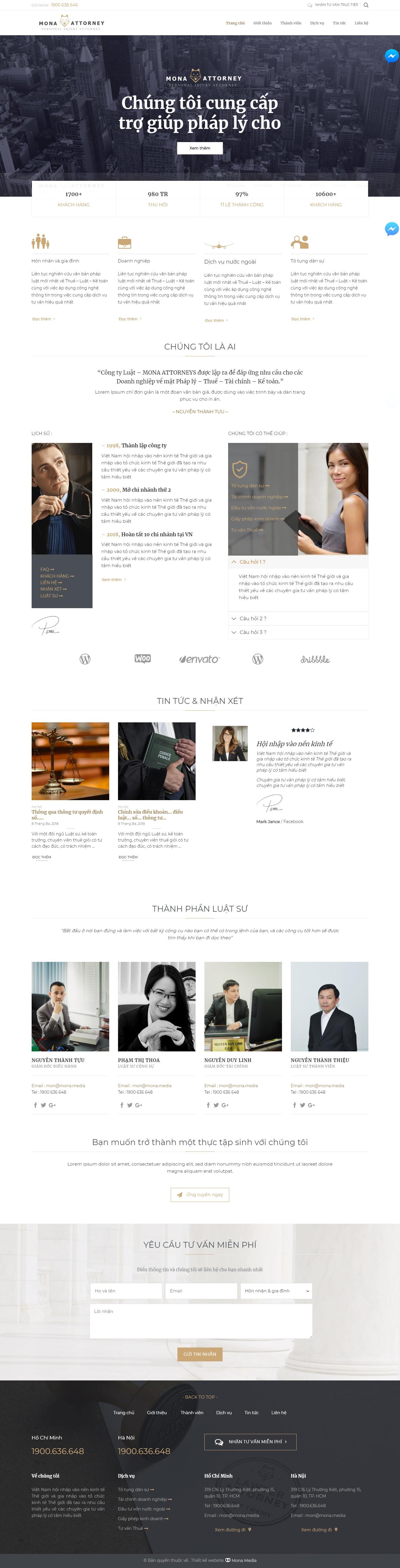 Mẫu website giới thiệu dịch vụ luật sư riêng giống Attorneys