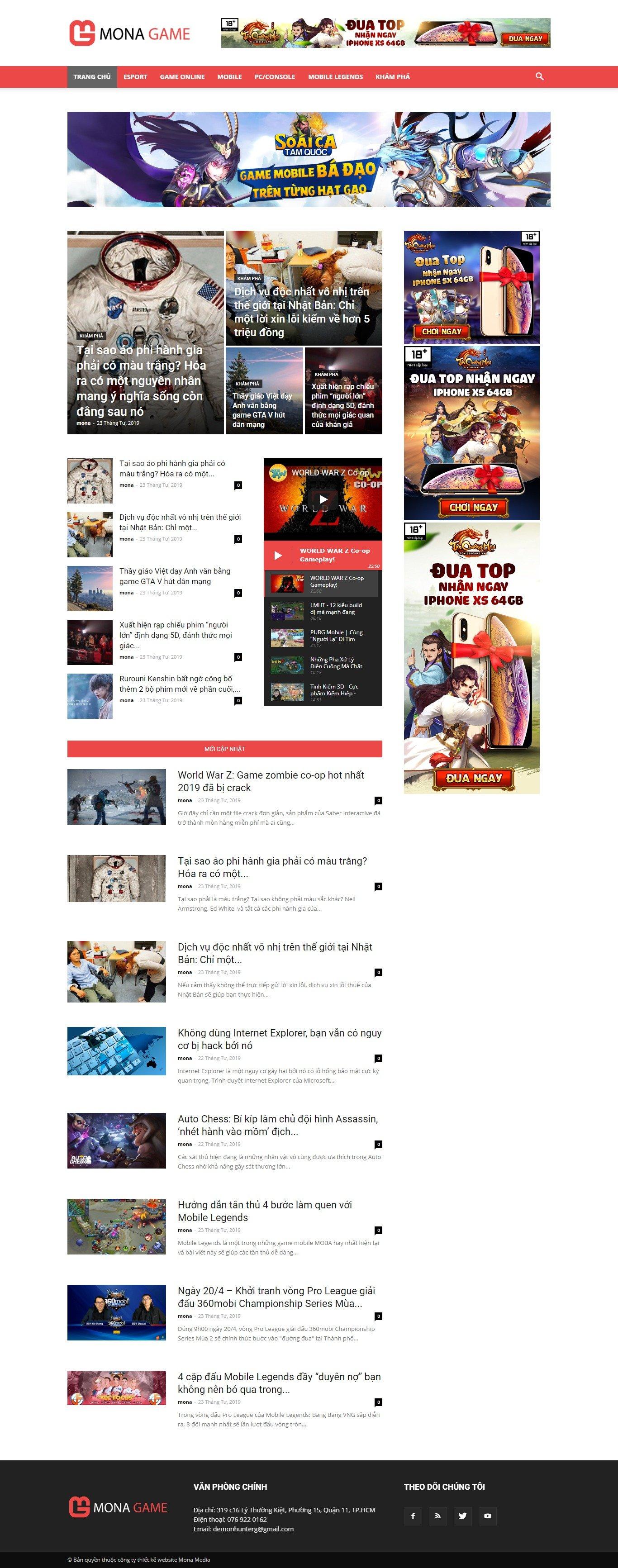 Mẫu website tin tức game giao diện tương tự GameK