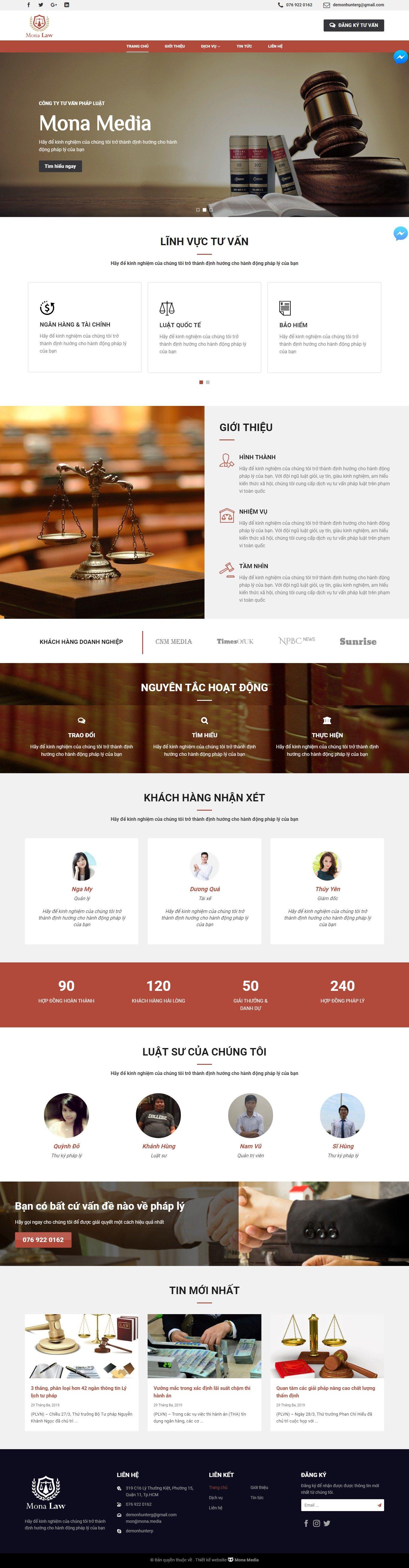 Mẫu website giới thiệu dịch vụ tư vấn luật giống Lawking