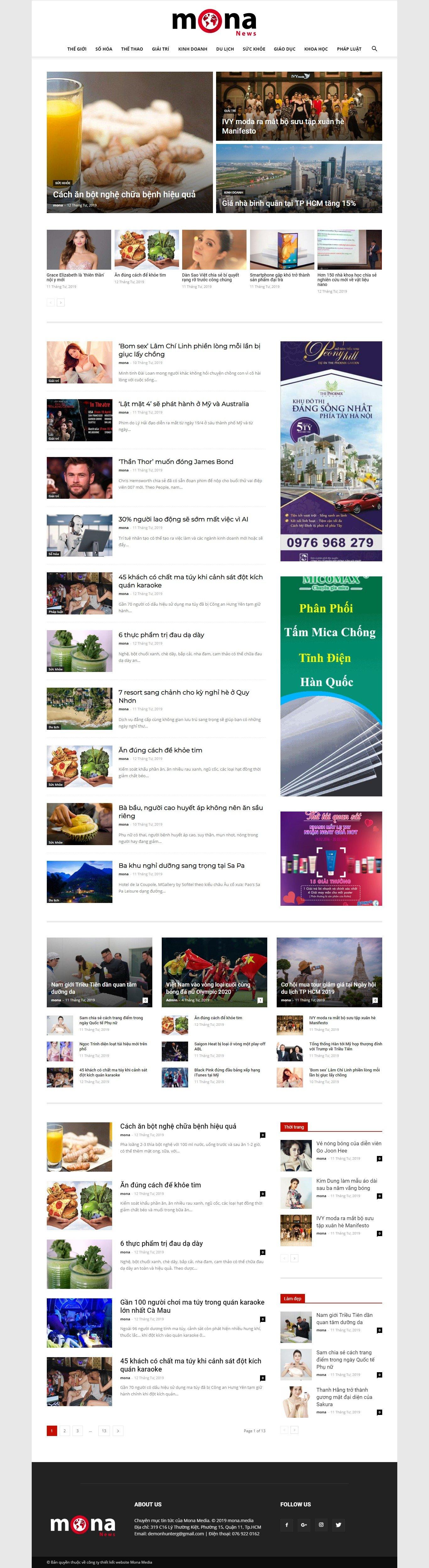 Mẫu website trang tin tức online giao diện tương tự Ngoisao.net