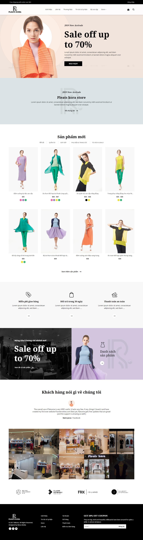Mẫu website bán hàng quần áo thời trang cao cấp giao diện tương tự Pleats Kora