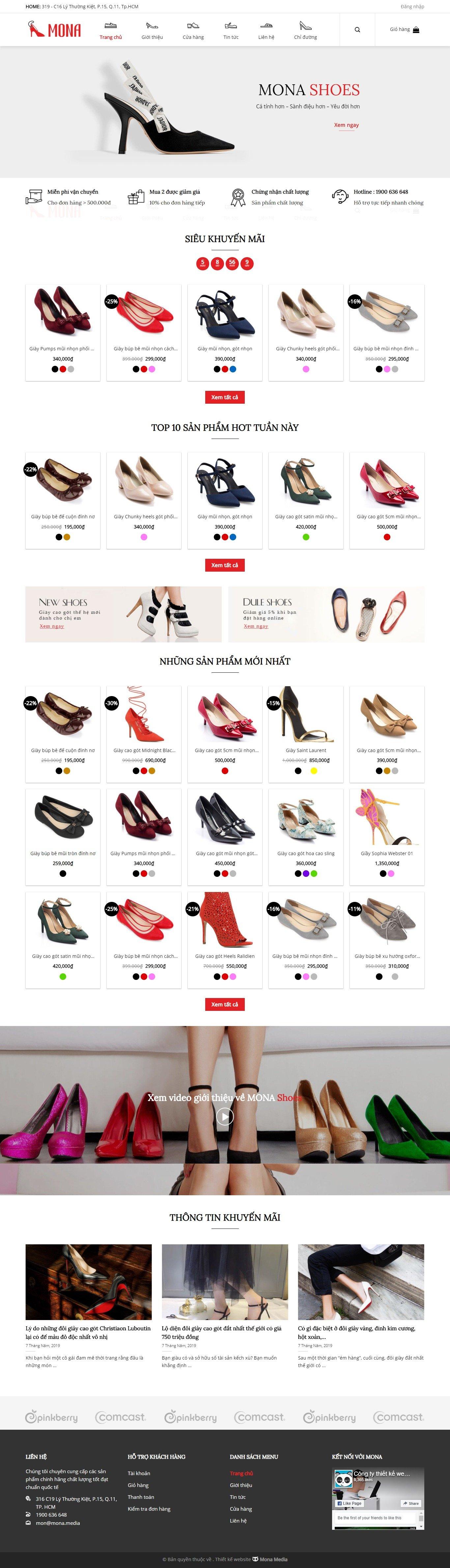 Mẫu website bán giày dép giao diện