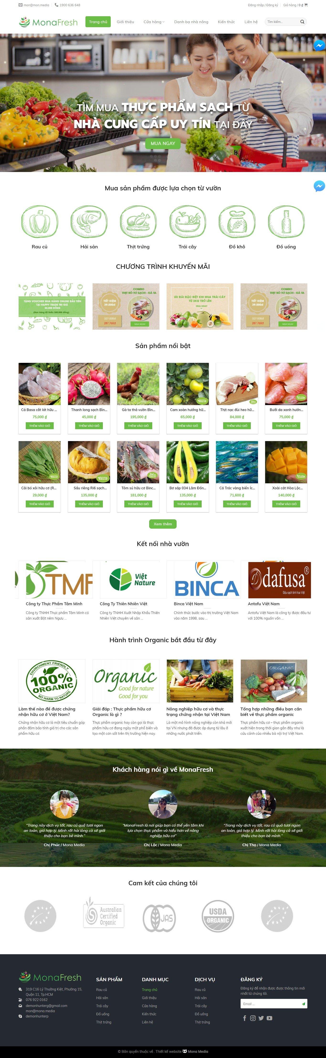 Mẫu website bán nông sản sạch giao diện tương tự HappyTrade