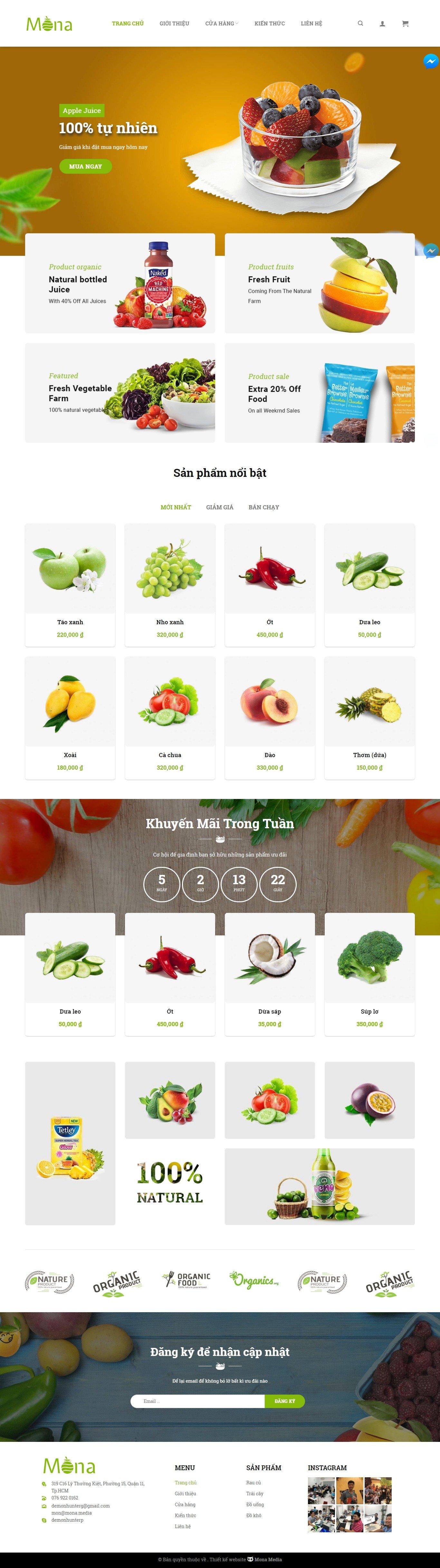 Mẫu website bán nông sản – rau sạch giao diện tương tự CleverFood