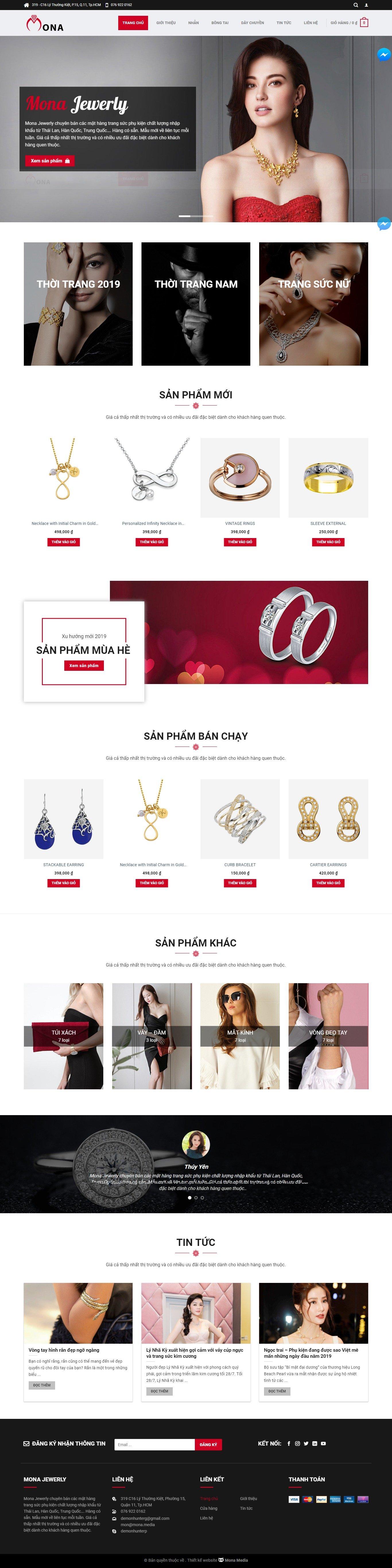 Mẫu website bán trang sức – phụ kiện thời trang cao cấp