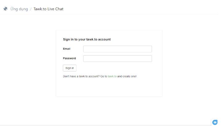 Điền thông tin đăng ký tài khoản Tawk.to.