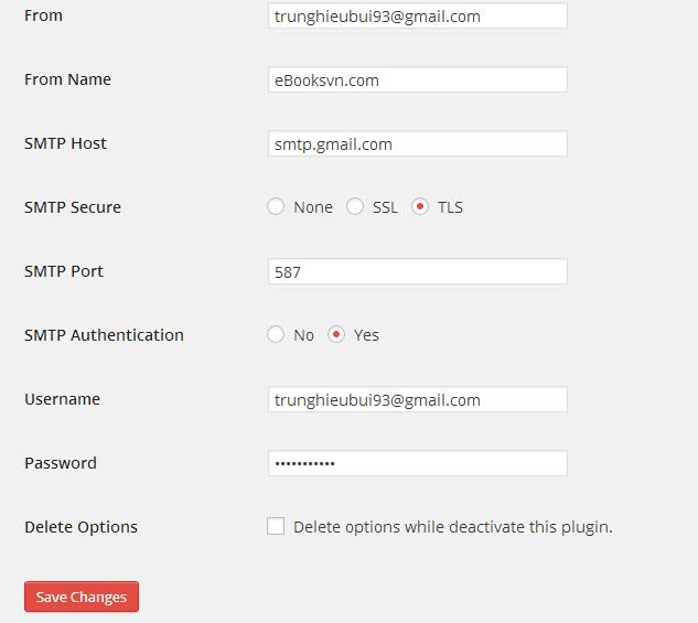 Thiết lập các chỉ số cho plugin WP SMTP.