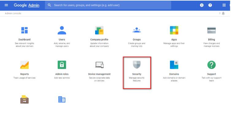 Truy cập vào mục Security của Admin Gmail.
