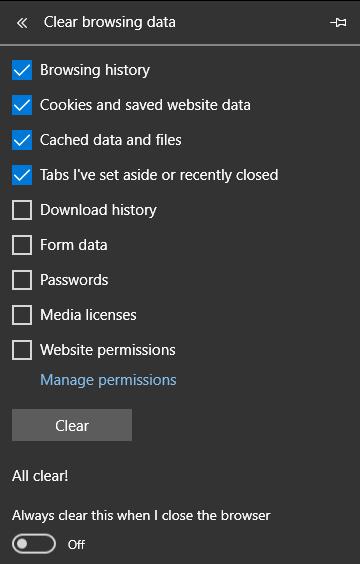 Xóa cache trình duyệt trên Microsoft Edge.
