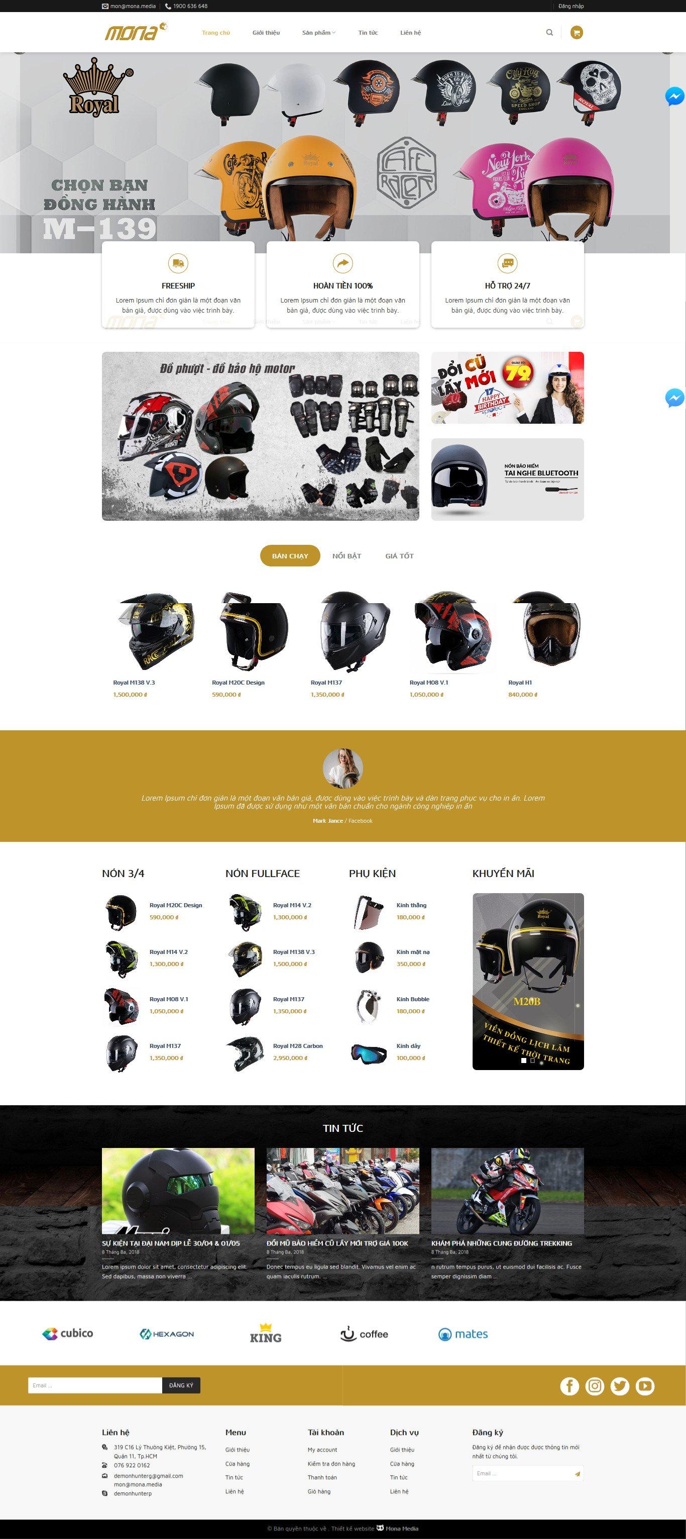 Mẫu website bán nón bảo hiểm