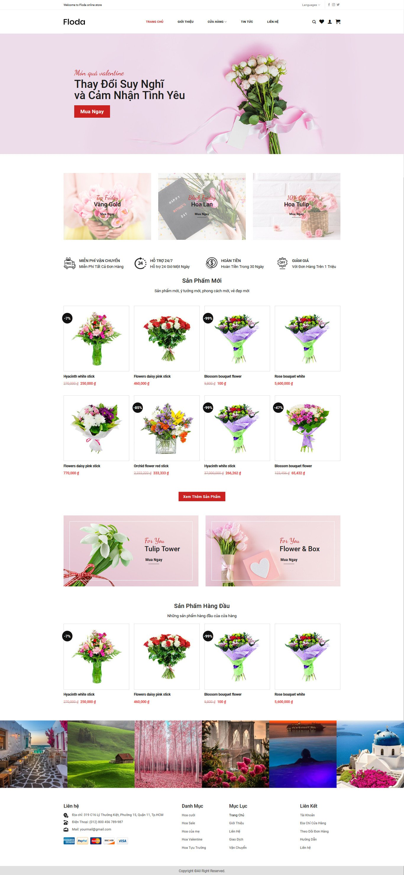 Mẫu website bán hoa giao diện tương tự Floda