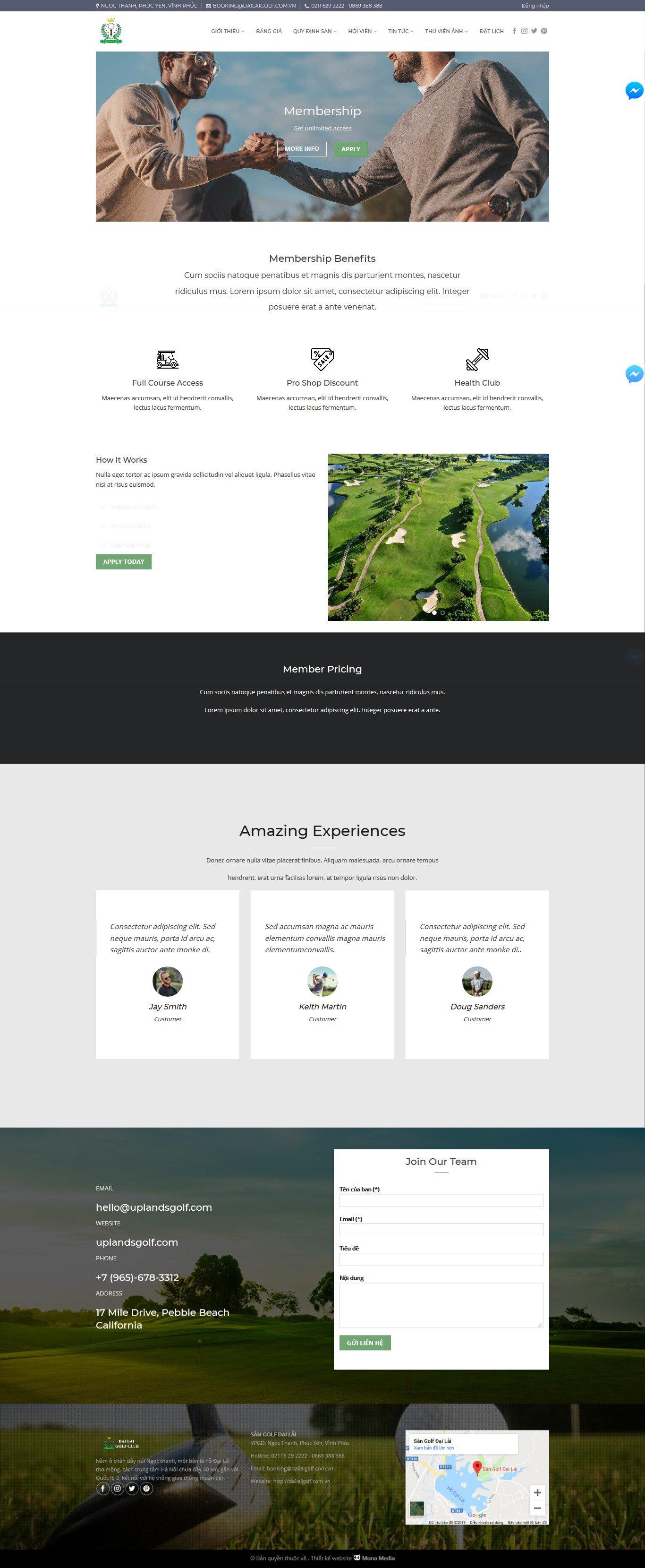 Mẫu website giới thiệu sân golf