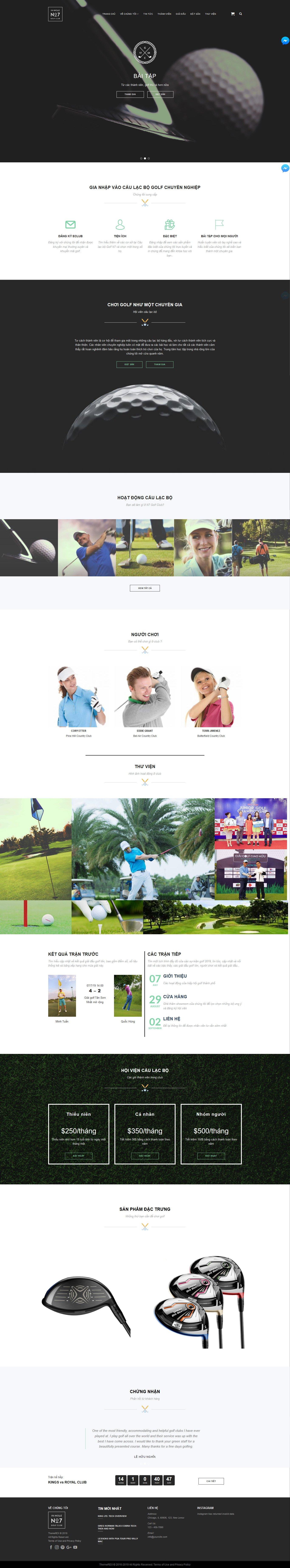 Mẫu website giới thiệu sân golf No7