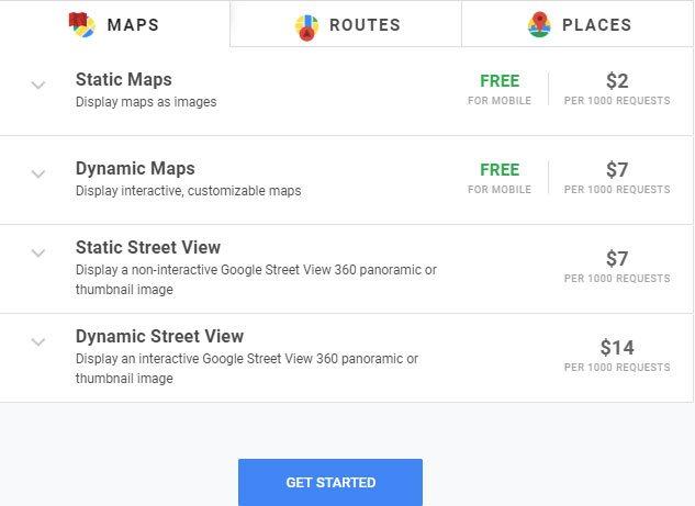 Bảng giá các dịch vụ Maps.