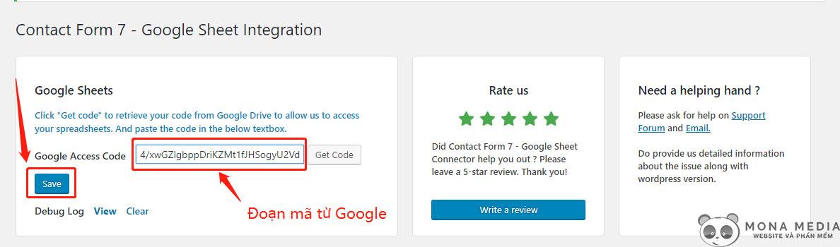 dán đoạn mã Google vào plugin
