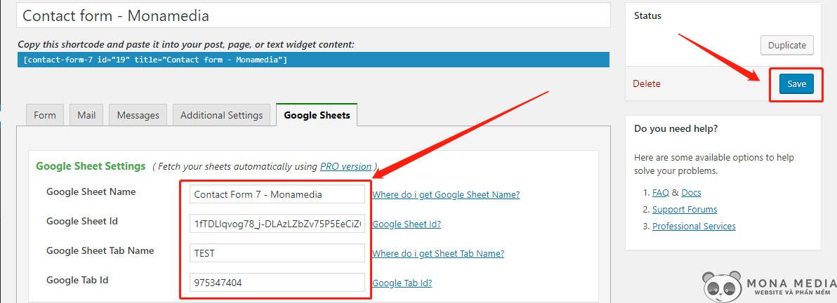 Điền thông tin Google Sheets