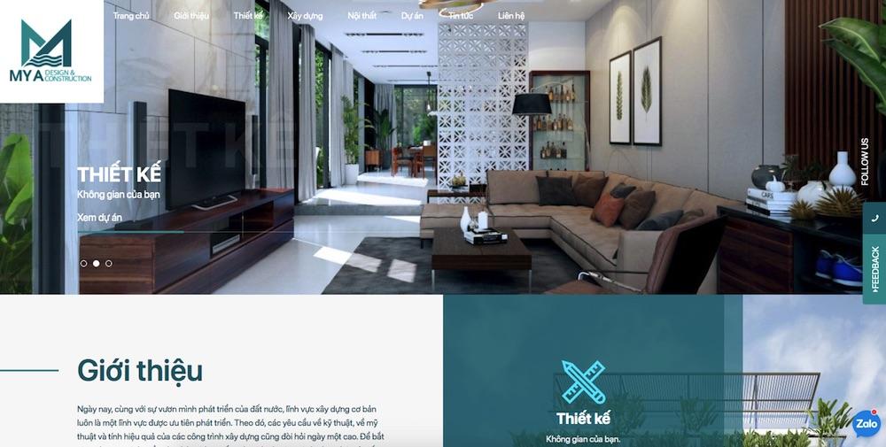 Dự án website công ty xây dựng tại Mona