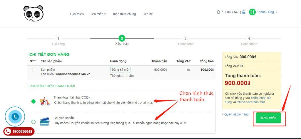 Click chọn tên miền và thanh toán