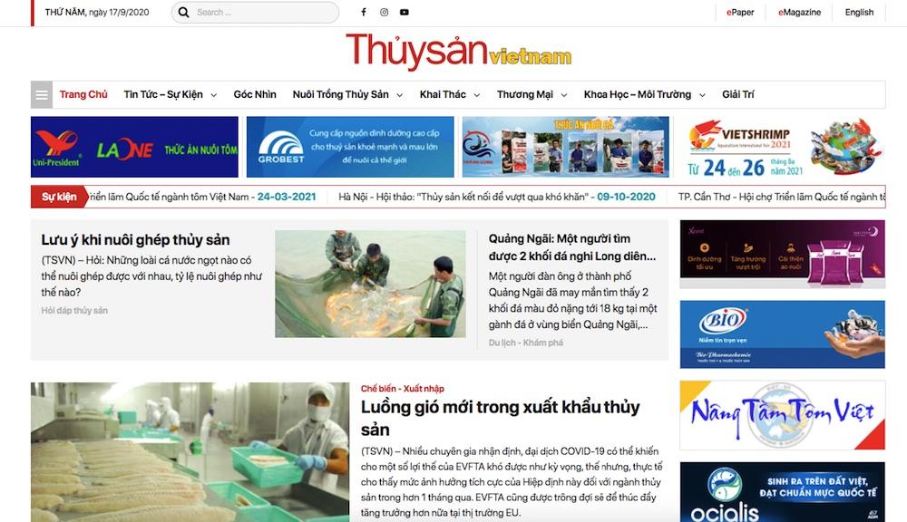 Website tin tức thủy sản