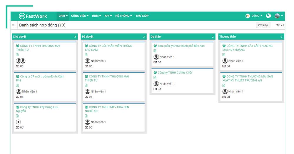 Phần mềm quản lý hợp đồng FastWork