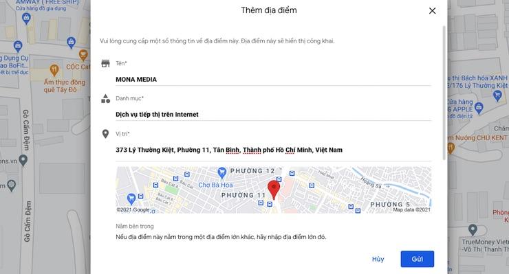 Điền thông tin doanh nghiệp trên Maps