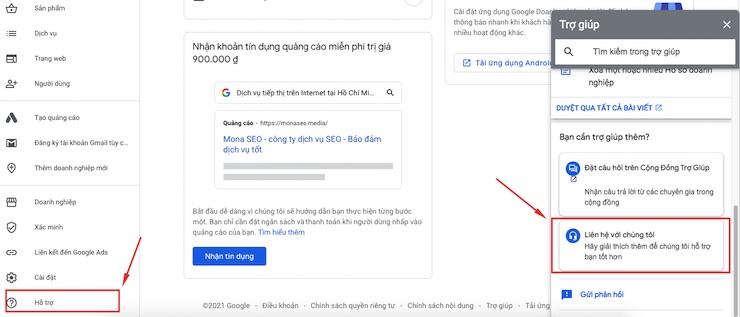 Vào ô hỗ trợ của Google