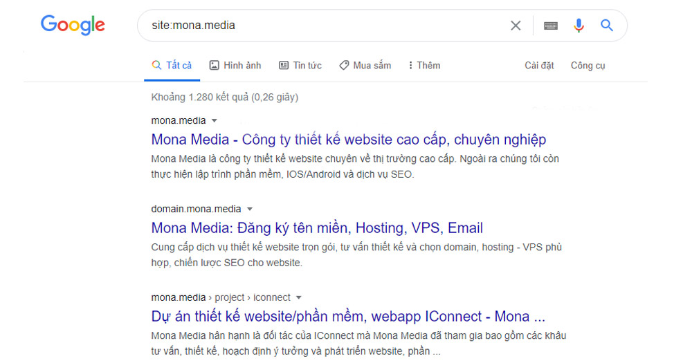 Website Mone Media đã được Index