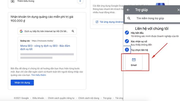 Chọn phương thức liên hệ với Google My Business
