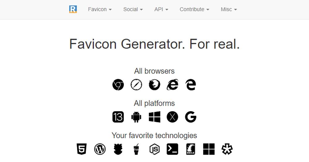 Giao diện Real Favicon Generator