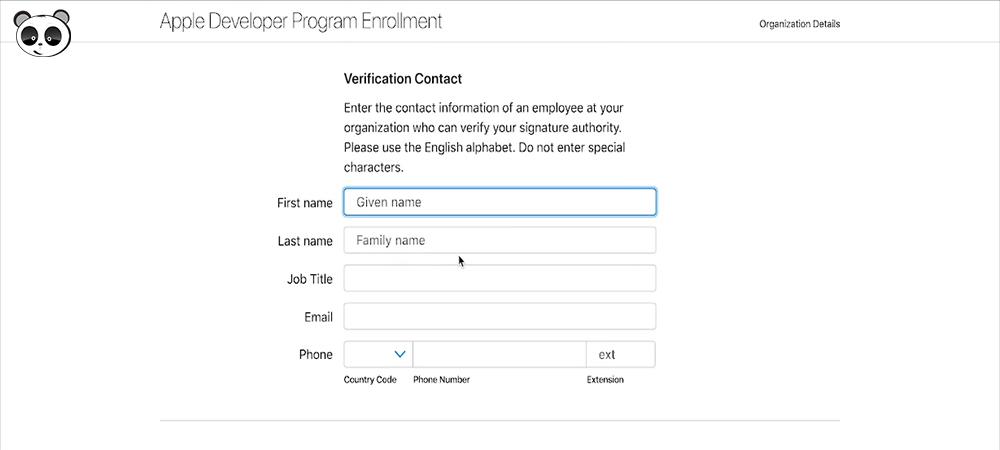 Điền thông tin Apple Developer Program Enrollment
