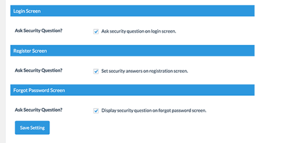 giao diện plugin wp security question
